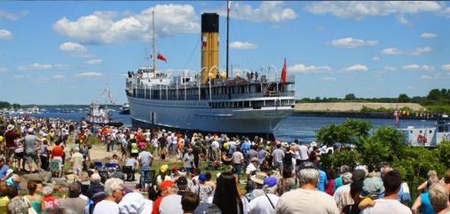 The arrival of the S.S.Keewatin back to her home in Port McNicoll, Ontario