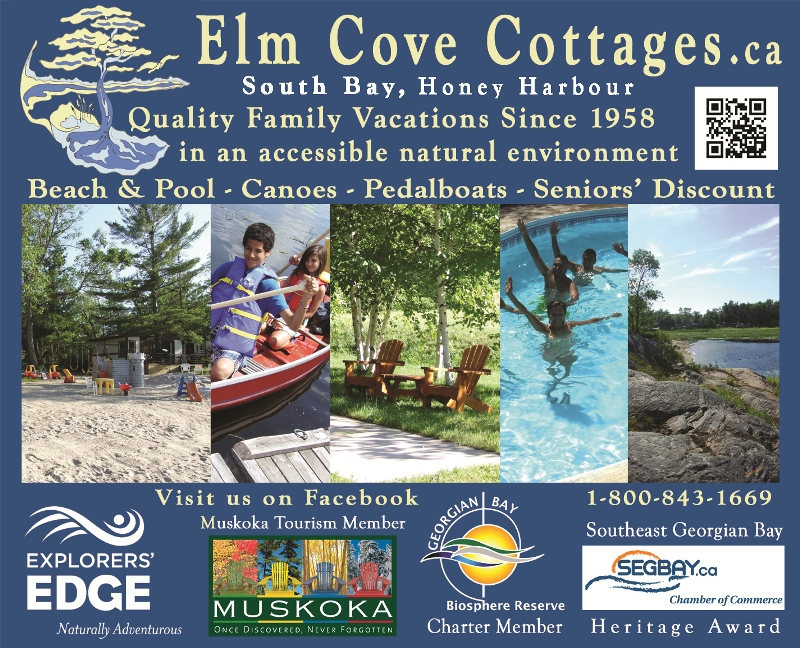 Family vacations at Elm Cove Cottages on Georgian Bay,  	Ontario