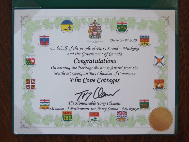 Member of Parliament for Parry Sound - Muskoka, Tony Clement, offers congratulations to Elm Cove Cottages
