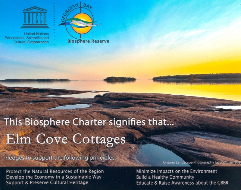 Elm Cove Cottages is a Charter Member of The Georgian Bay Biosphere Reserve