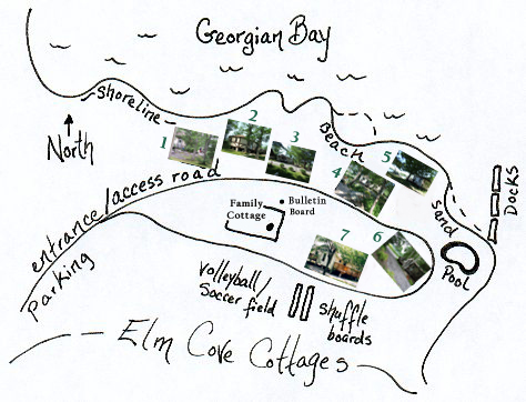 Click on cottages, beach, docks & pool at Elm Cove Cottages